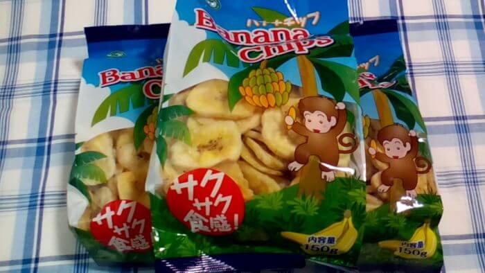 業務スーパーのバナナチップのサルパッケージ