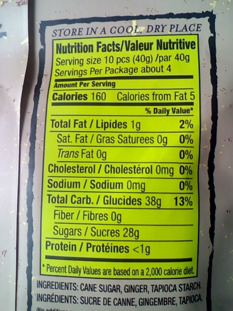 アイハーブで買ったChimesのジンジャーチューの栄養表示