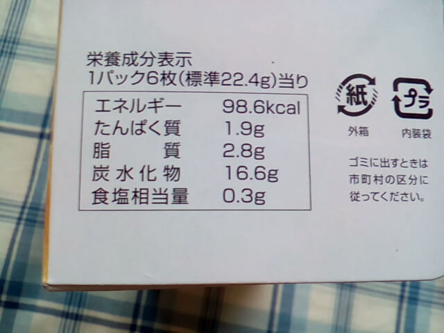 ダイソーのプレーンクラッカーの栄養成分表示