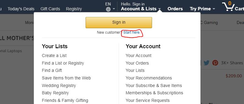米アマゾンでの注文の仕方 アカウントを作成する