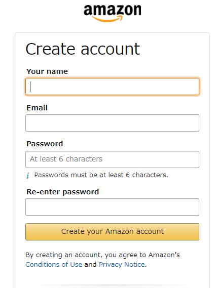 米アマゾンでの注文の仕方 アカウントの作成画面