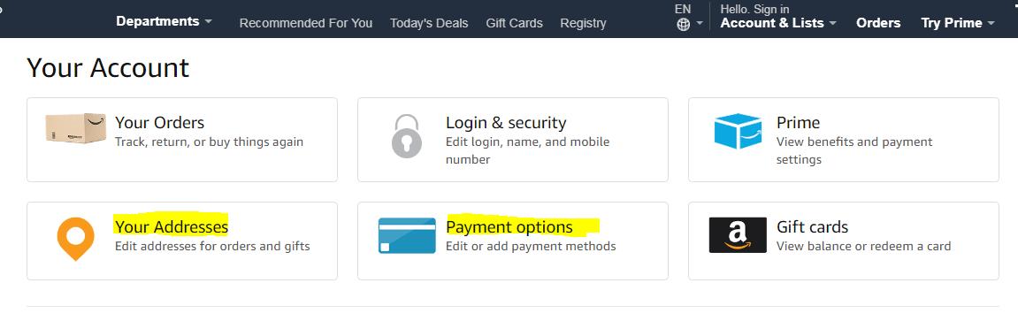 米アマゾンでの注文の仕方 アカウントを作成して住所とカード情報を入力する