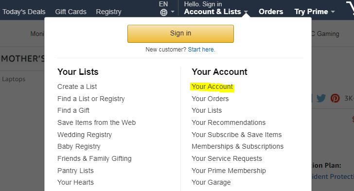 米アマゾンでの注文の仕方 アカウントの作成して情報を入力する