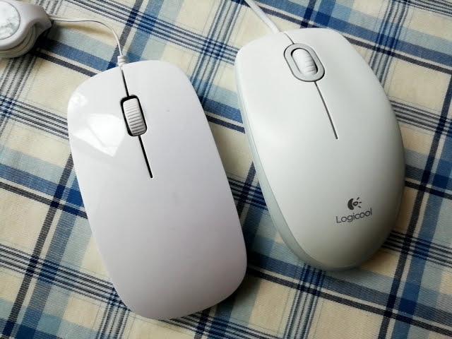 100均ダイソーのマウスとロジクールのマウスの大きさ