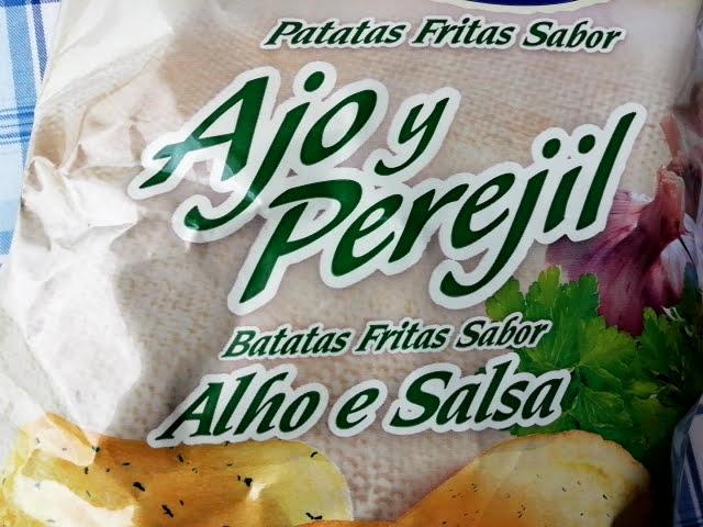 業務スーパーのスペイン産のポテトチップスのガーリック&パセリ味