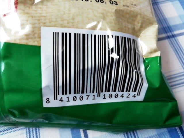 業務スーパーのスペイン産のポテトチップスのガーリック&パセリ味のバーコード