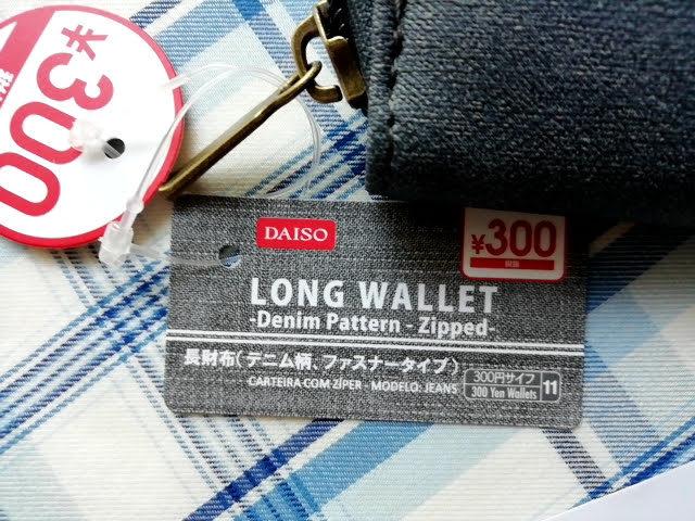ダイソー300円商品の長財布のタグ デニム柄、ファスナータイプ