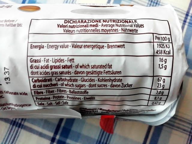 業務スーパーのザクザク オーツ&ホールグレイン ビスケットの栄養成分表示