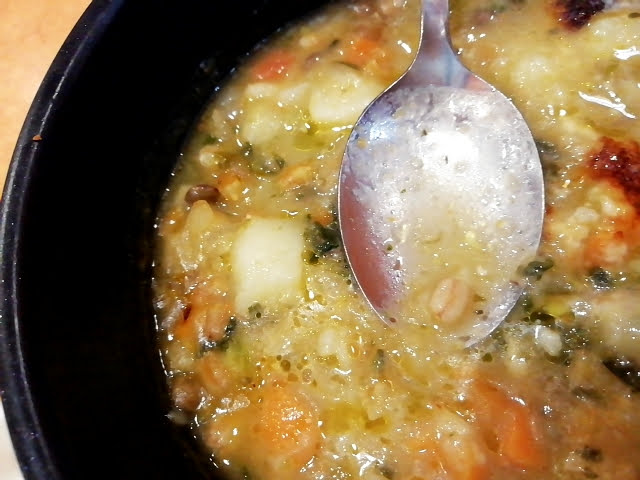サイゼリヤのレンズ豆とスペルト小麦のミネストローネのスペルト小麦