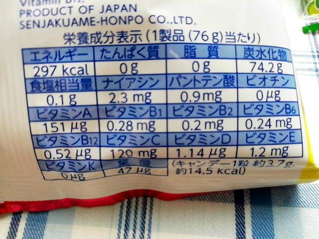 業務スーパーのマルチビタミン フルーツのど飴の栄養成分表示