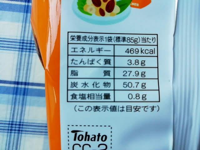 キャラメルコーンのよくばり3種の香ばしナッツ味の栄養成分表示