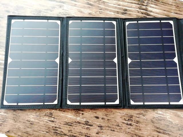 RAVPower ソーラーチャージャー 16W 2ポート RP-PC008の充電するところ