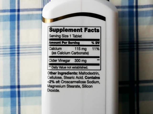 21st Century, のヘルスケア, リンゴ酢, 300 mg, 250錠の成分表示