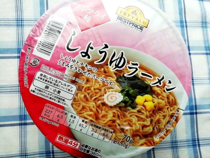 イオンのトップバリュのカップ麺、しょうゆラーメン