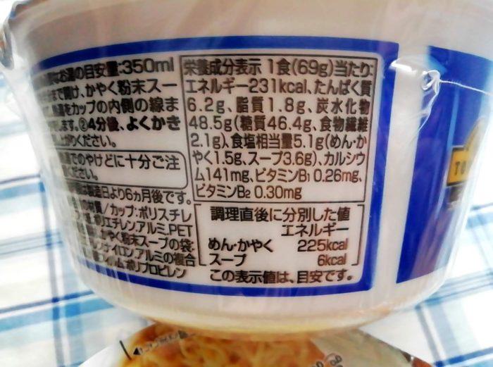 イオンのトップバリュのノンフライ麺のしおラーメンの栄養成分表示
