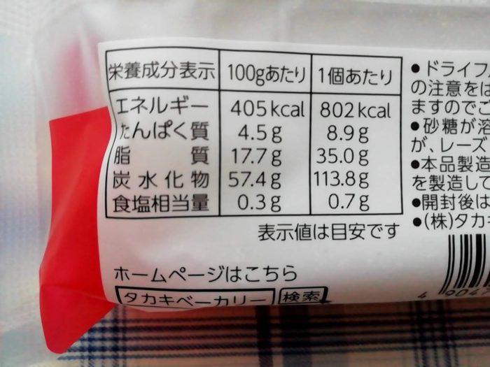 タカキベーカリーのミニシュトレンの栄養成分表示