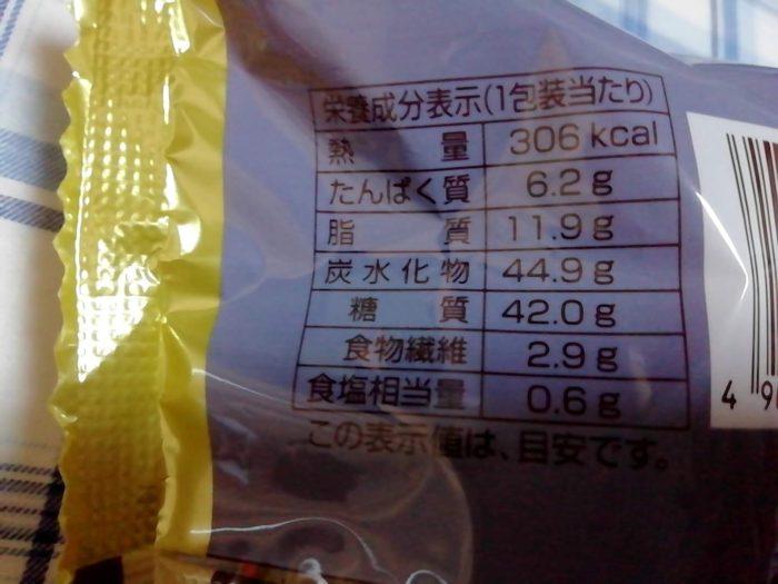 ファミマのあんバターフランス 税込み178円の栄養成分表示