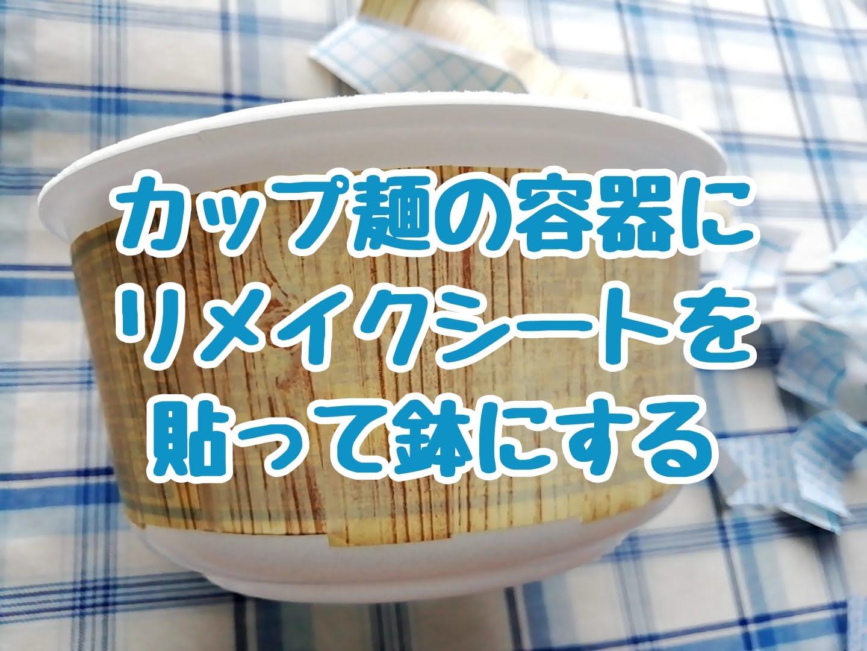 カップ麺の容器にダイソーのリメイクシートを貼って植木鉢にしてみる