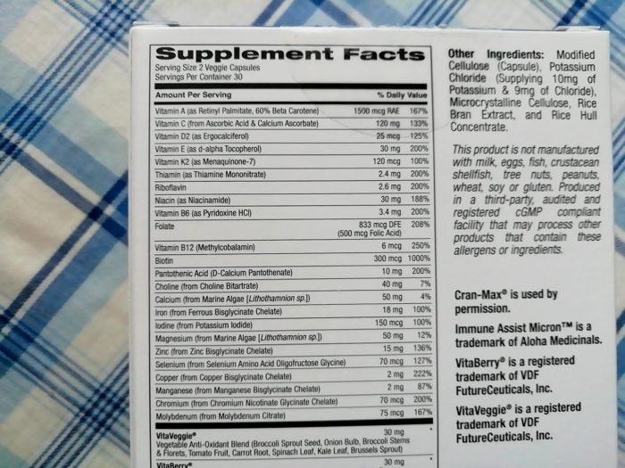 アイハーブのUltaminsの女性用マルチビタミン&ミネラルの栄養成分表示