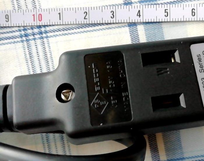 エレコムの超小型モバイルタップの電源部分