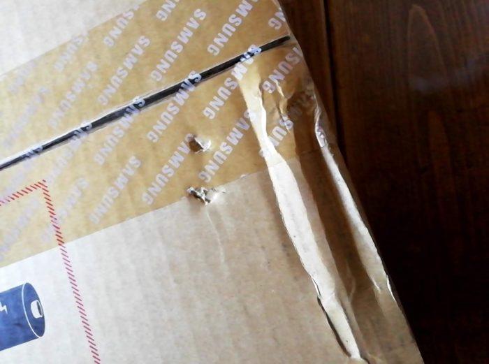 米アマゾンから届いた内箱に凹みあり