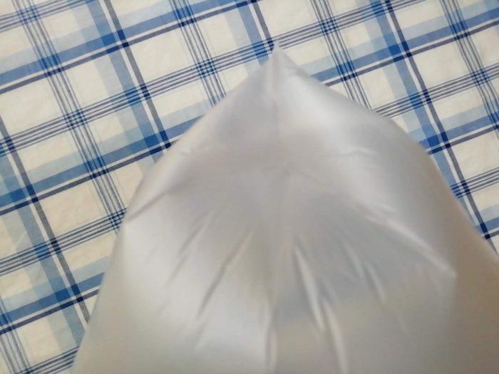 マチのある生協のキッチン用ポリ袋を膨らませたところ